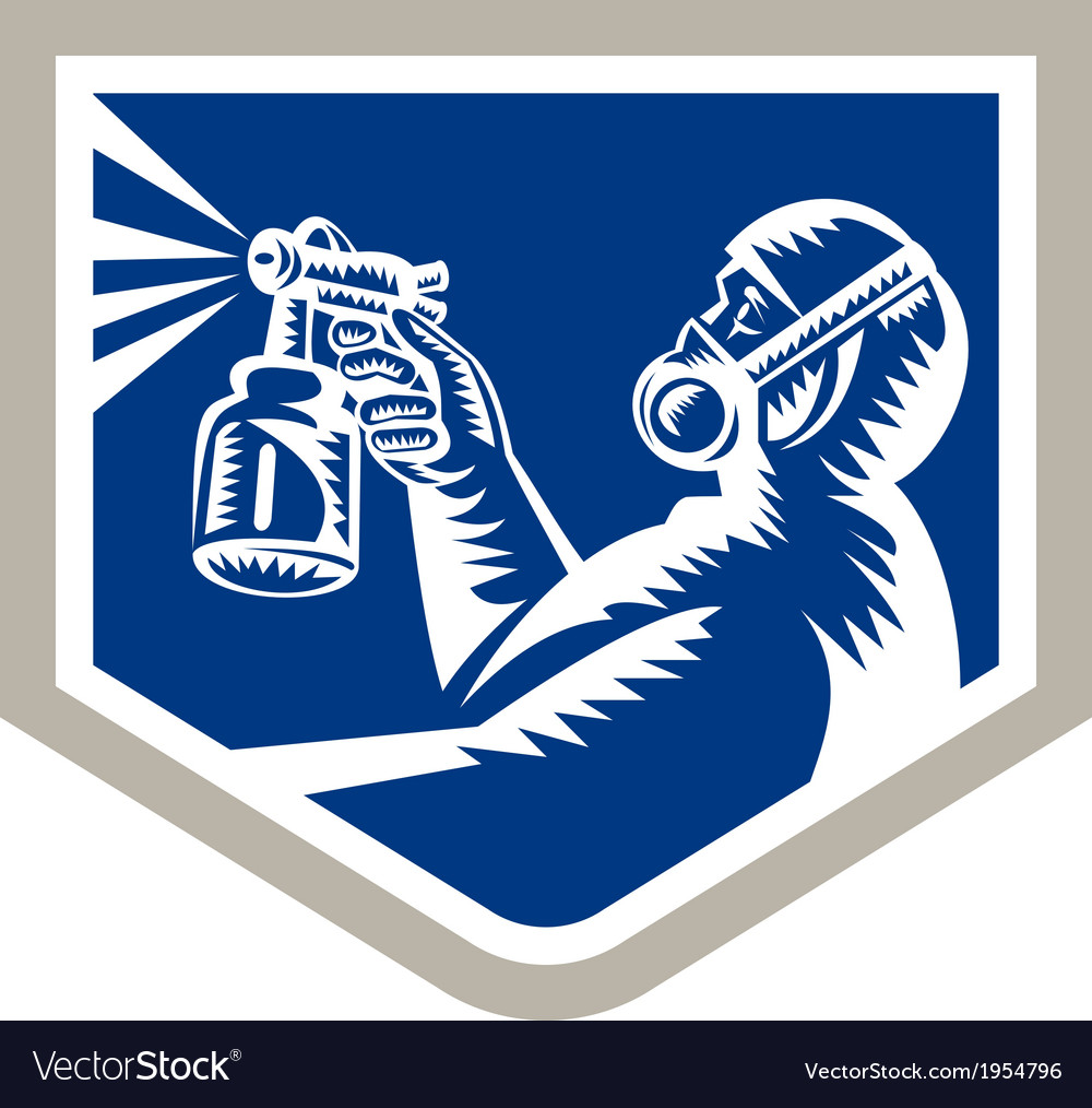 Spray painter spraying woodcut crest retro vector | Price: 1 Credit (USD $1)