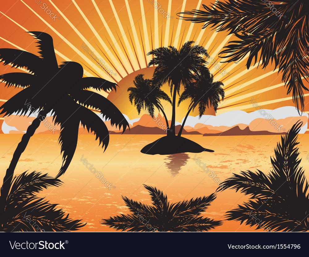 Sunset tropical island vector | Price: 3 Credit (USD $3)