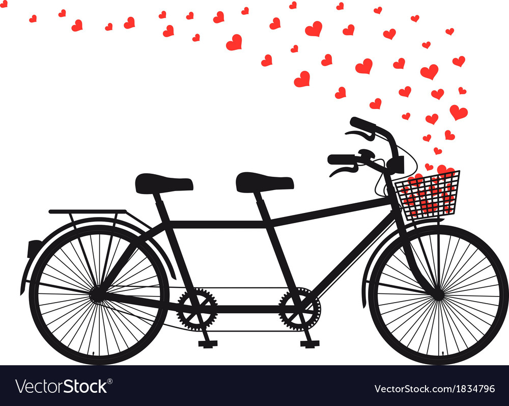 Tandem bicycle with red hearts vector | Price: 1 Credit (USD $1)