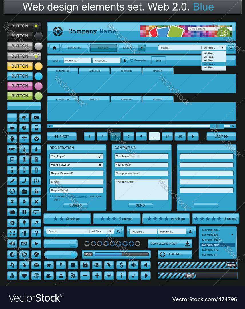 Web design elements blue vector | Price: 3 Credit (USD $3)