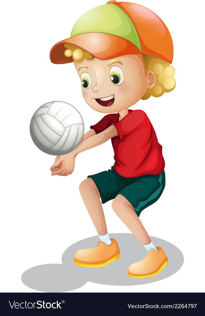 A young boy playing volleyball vector | Price: 1 Credit (USD $1)