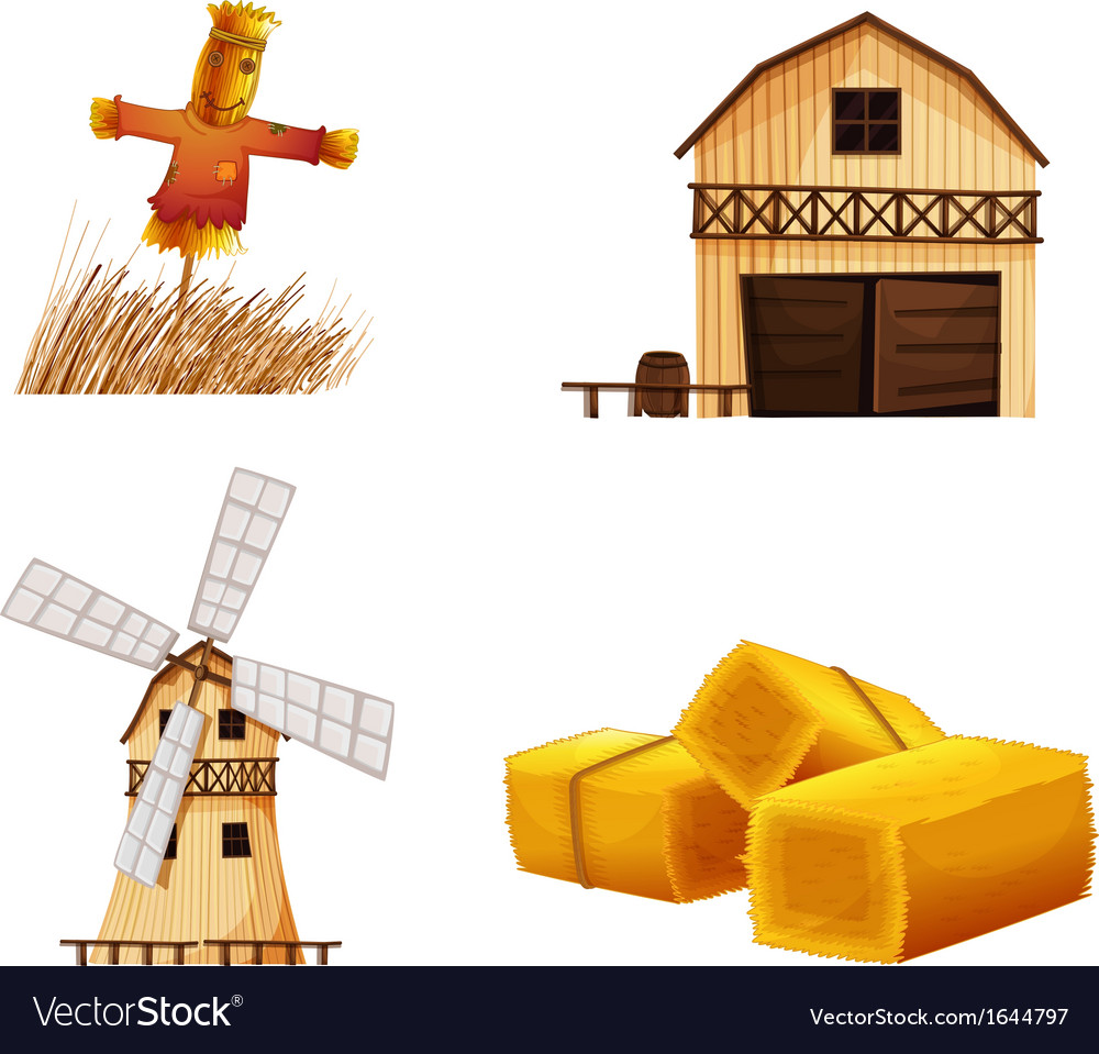 Barn houses hays and a scarecrow vector | Price: 3 Credit (USD $3)