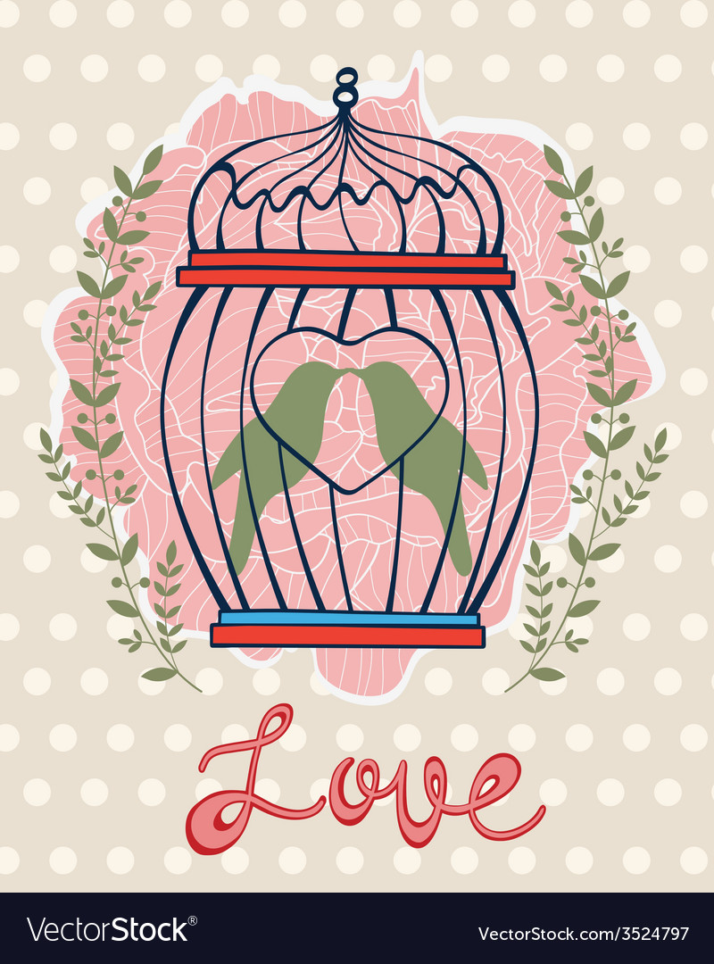 Beautiful card with birds in cage vector | Price: 1 Credit (USD $1)