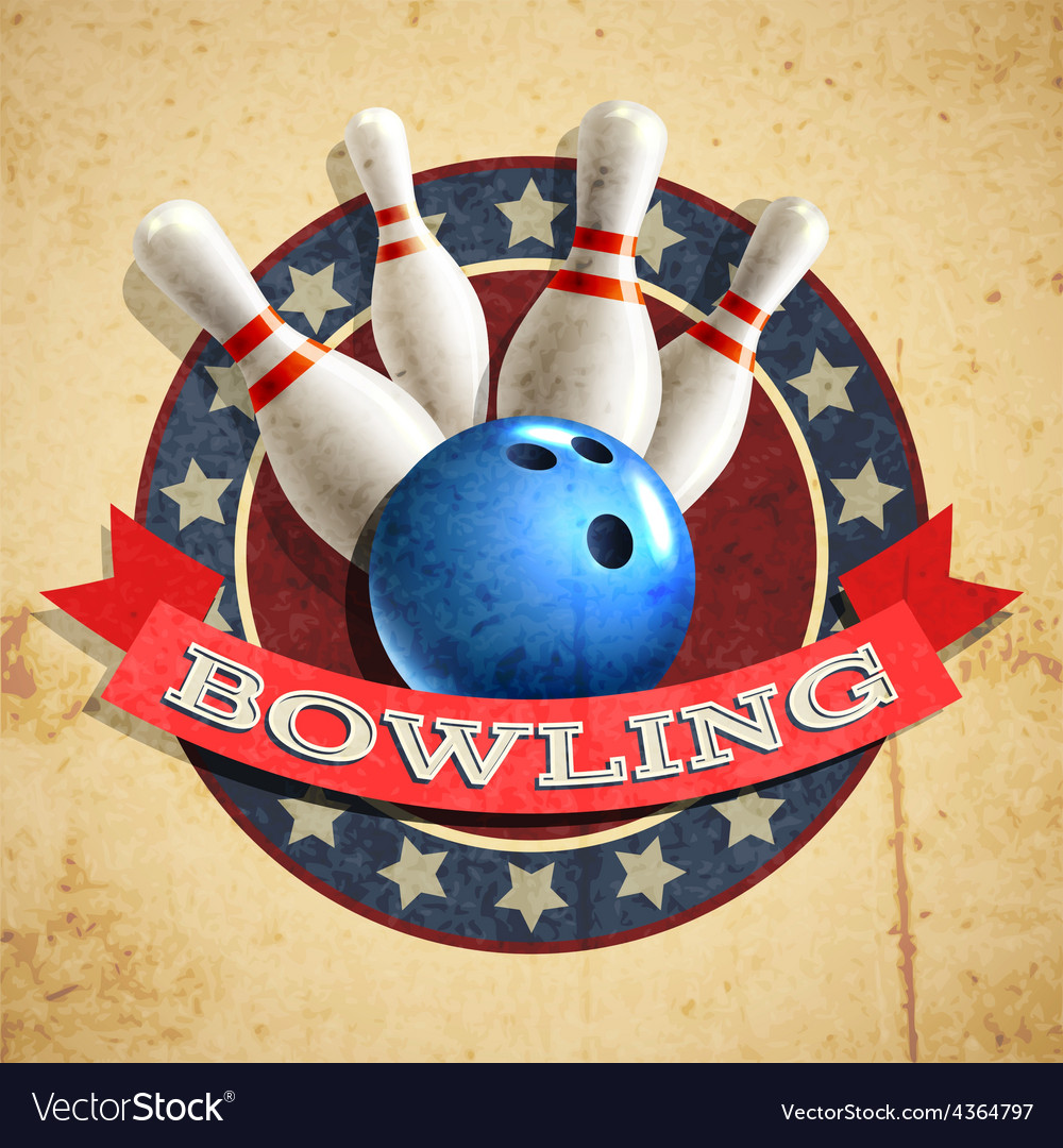 Bowling emblem background vector | Price: 1 Credit (USD $1)