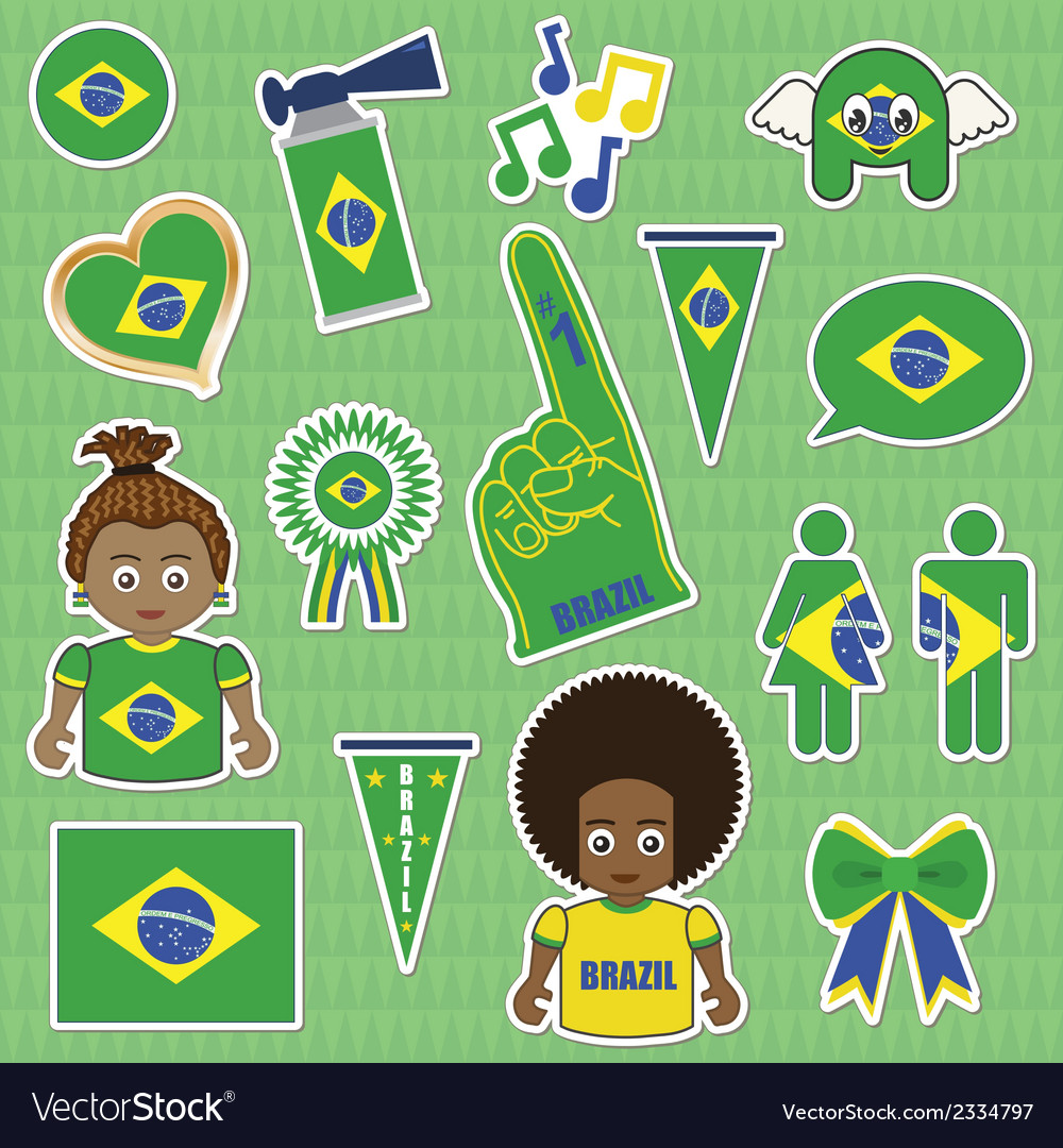 Brazil supporter stickers vector | Price: 1 Credit (USD $1)
