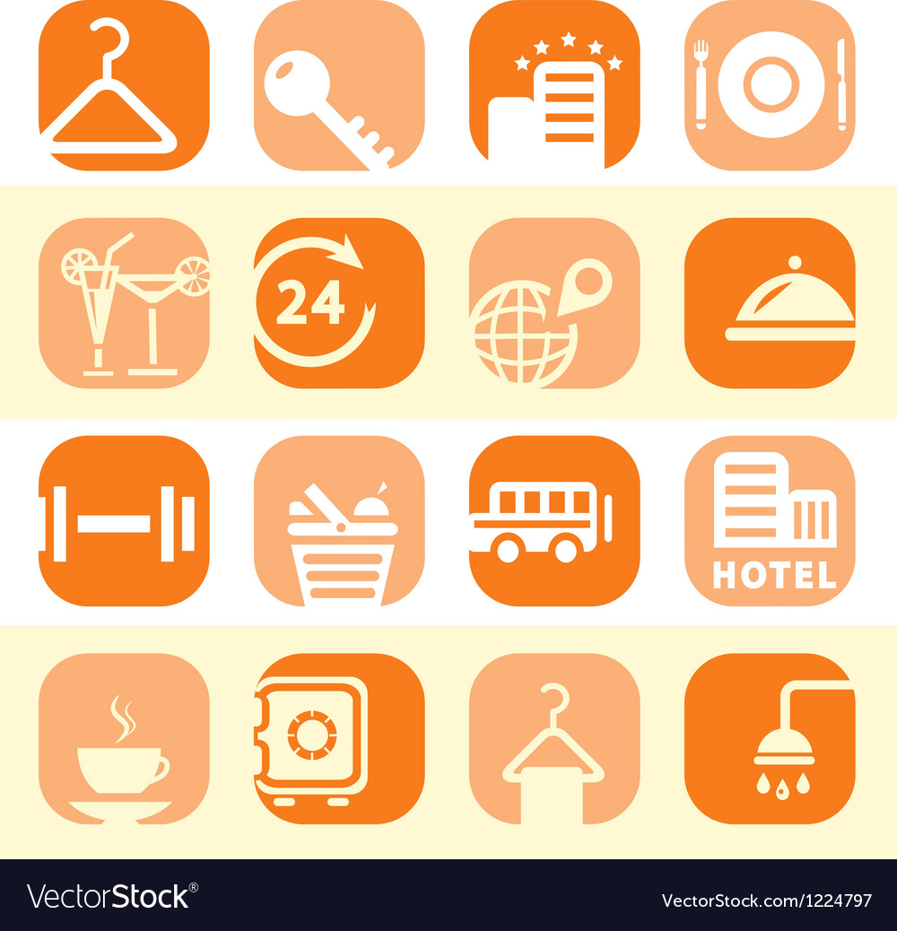 Color hotel business icons vector | Price: 1 Credit (USD $1)