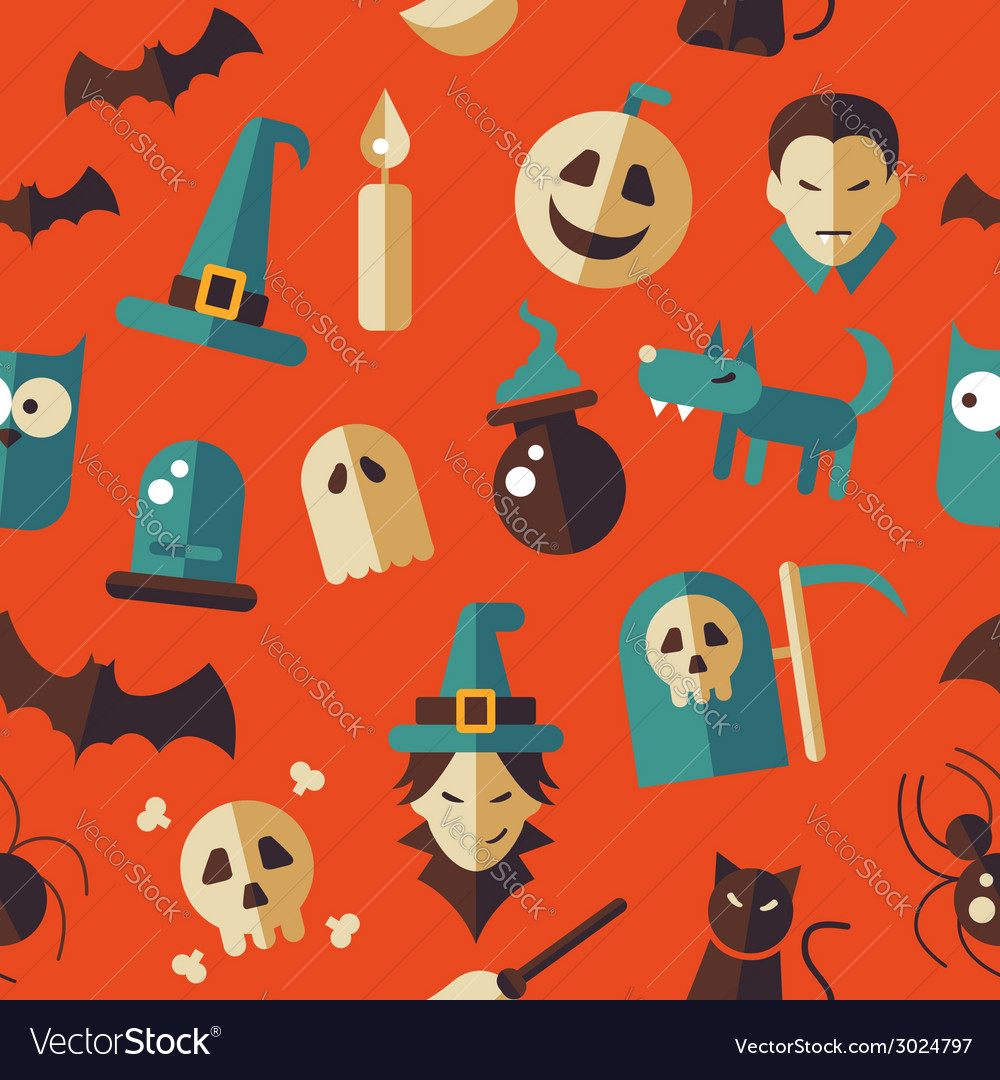 Flat design halloween pattern vector | Price: 1 Credit (USD $1)
