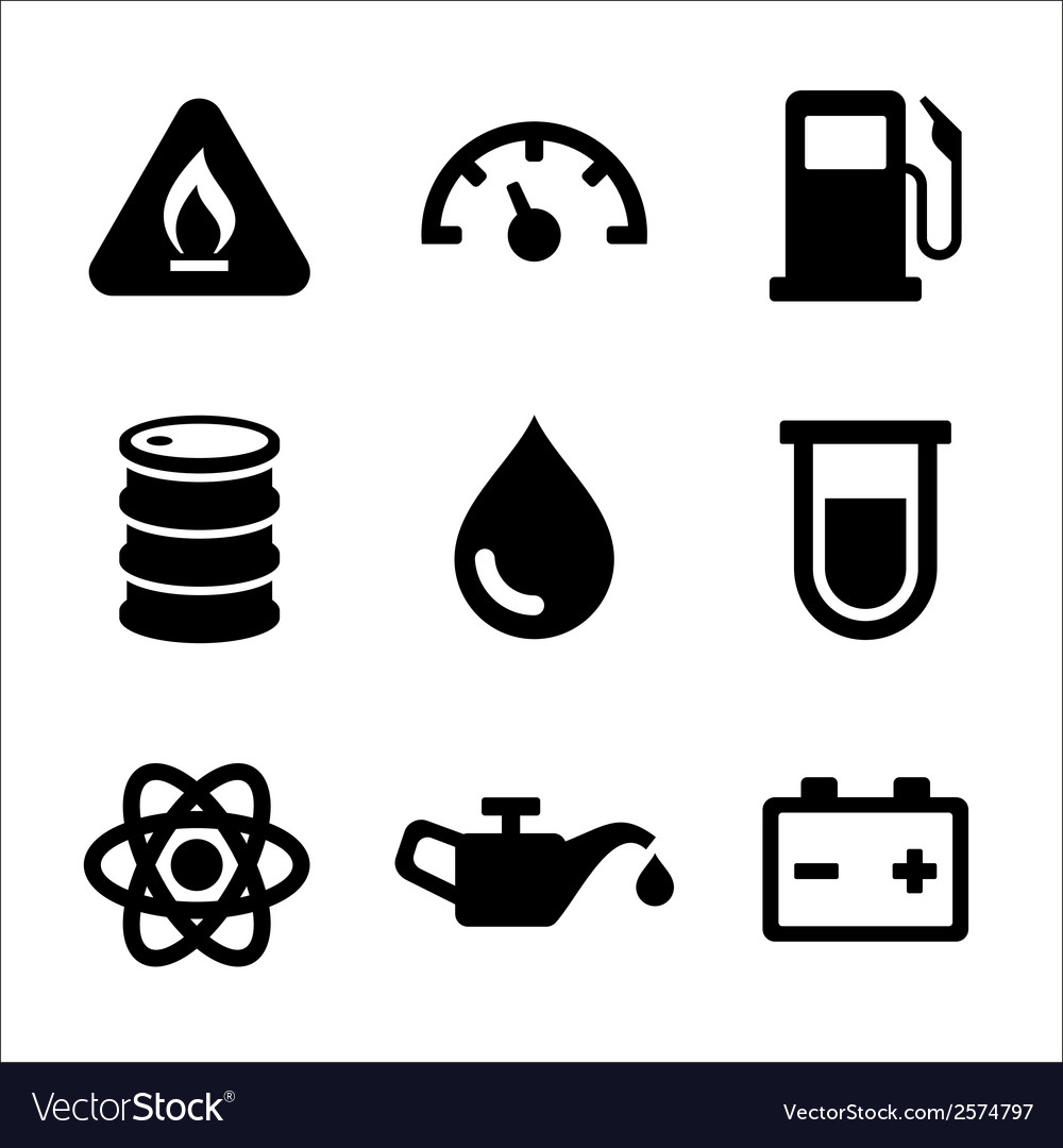 Gasoline diesel fuel service station icons set vector | Price: 1 Credit (USD $1)