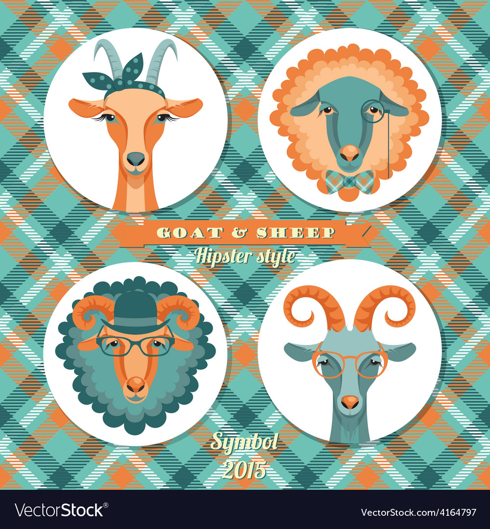 Goat and sheep symbol of 2015 hipster s vector | Price: 1 Credit (USD $1)