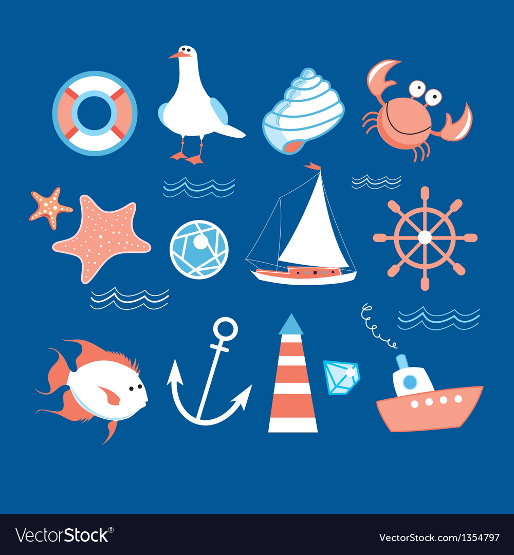 Icons to the marine theme vector | Price: 1 Credit (USD $1)