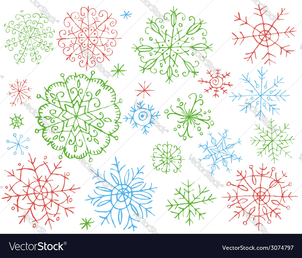 Snowflakes on white background vector | Price: 1 Credit (USD $1)