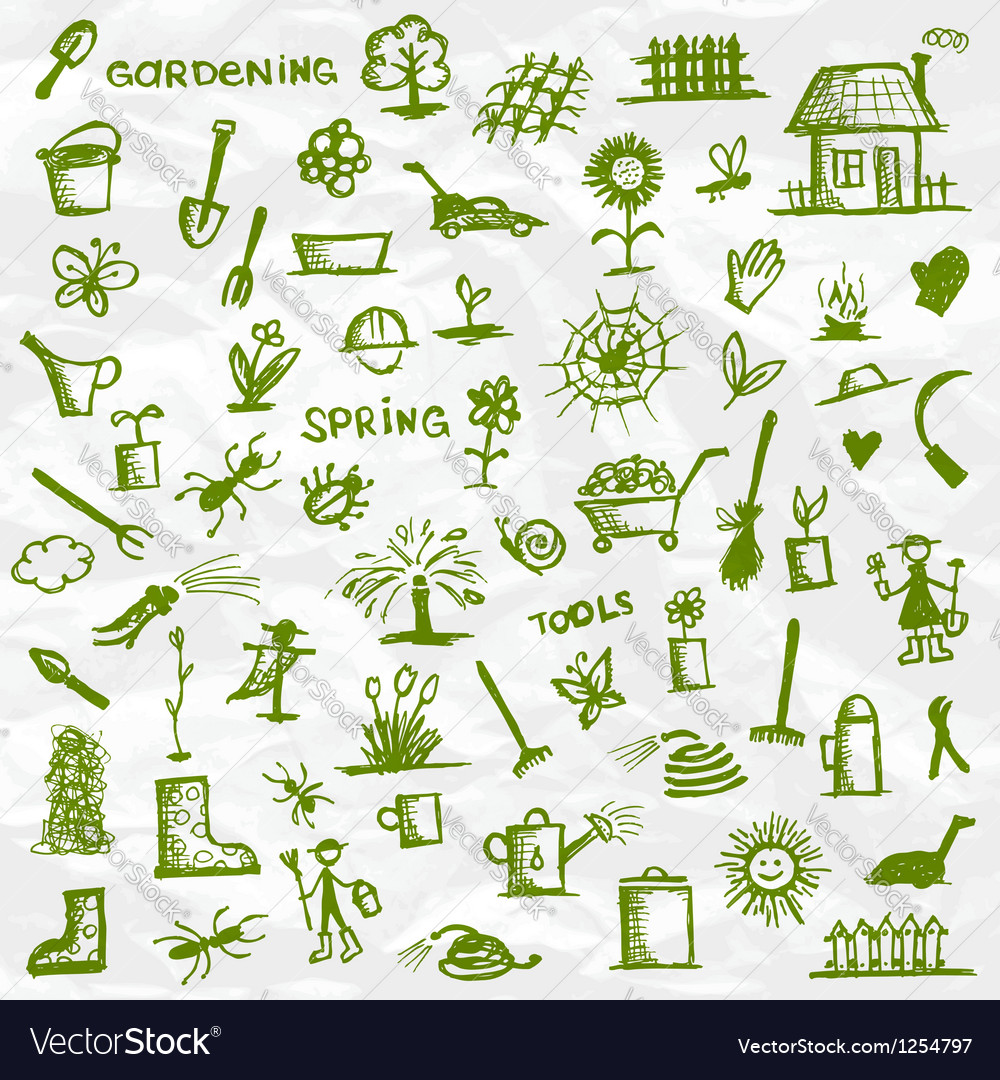 Spring garden tools sketch for your design vector | Price: 1 Credit (USD $1)