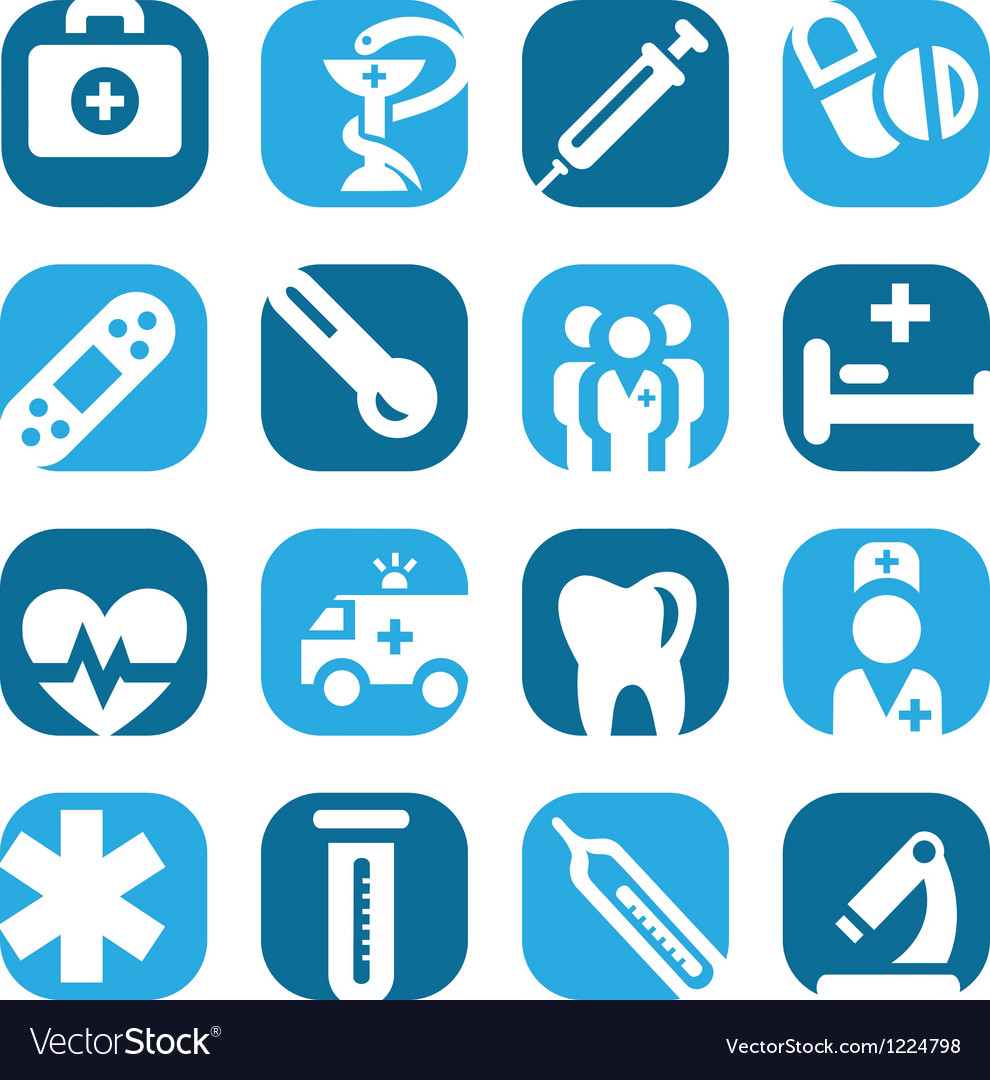 Color medical icon set vector | Price: 1 Credit (USD $1)