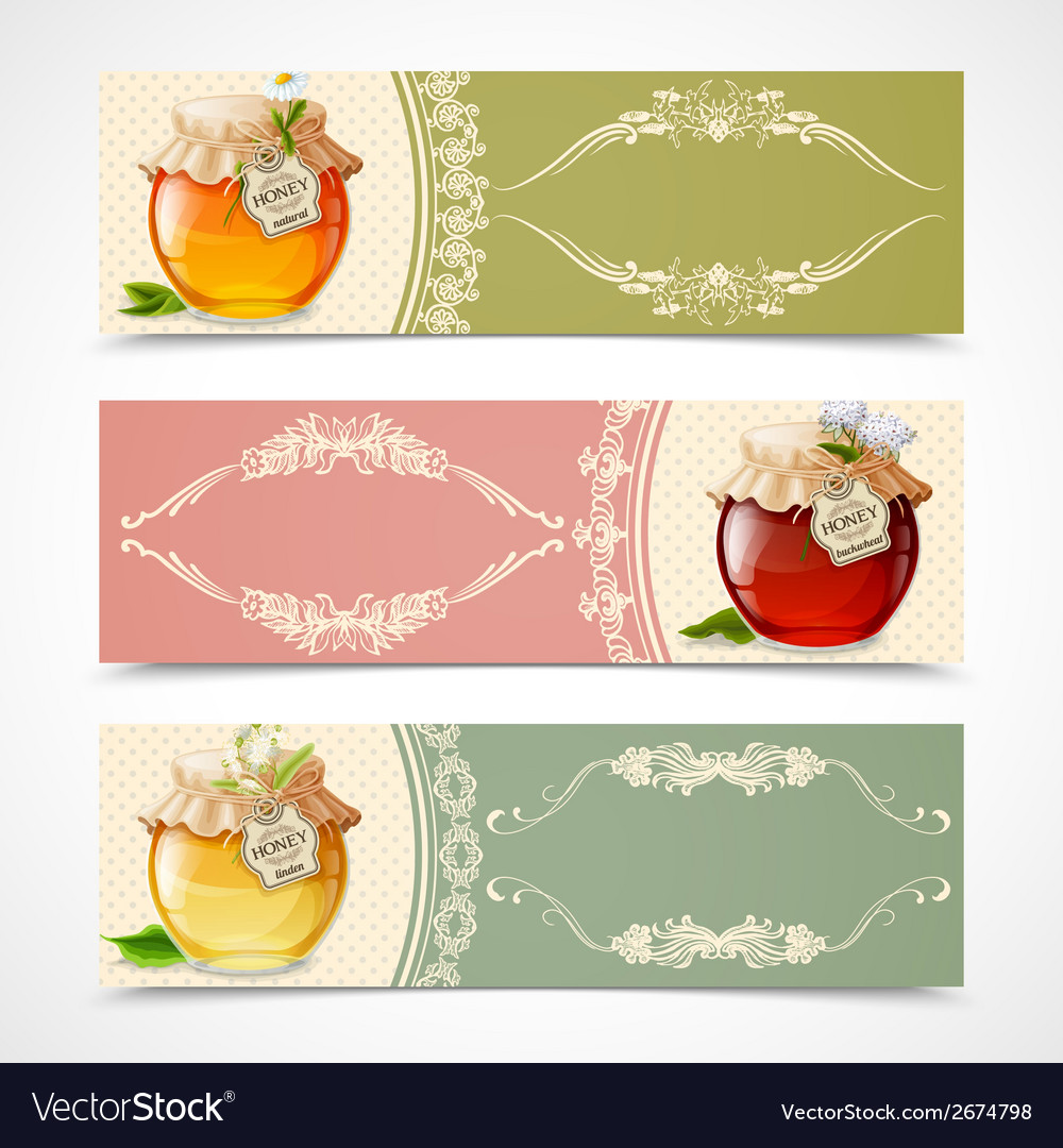 Honey banners horizontal vector | Price: 1 Credit (USD $1)