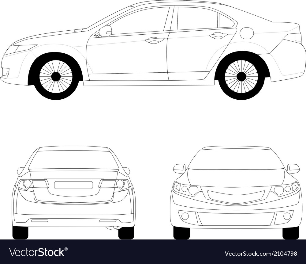 Large sport sedan line art vector | Price: 1 Credit (USD $1)
