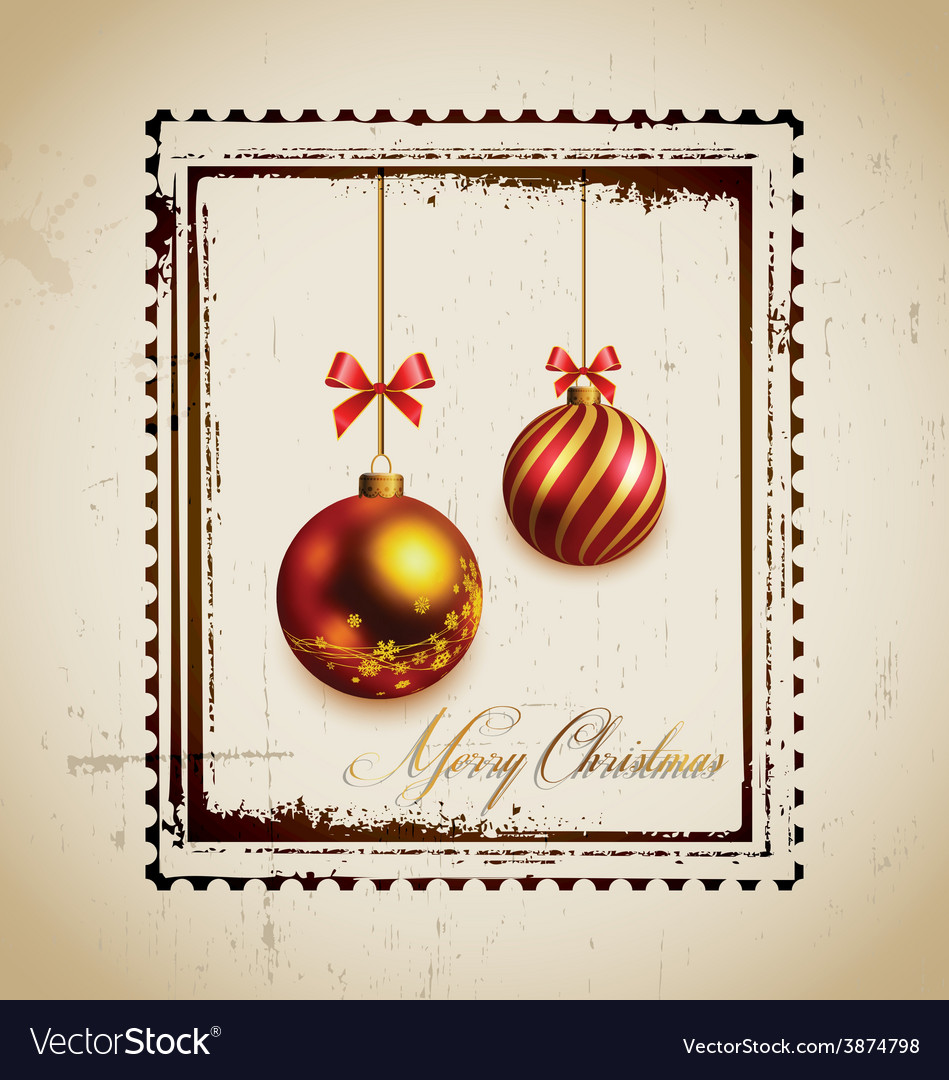 Stamp and christmas balls vector | Price: 3 Credit (USD $3)