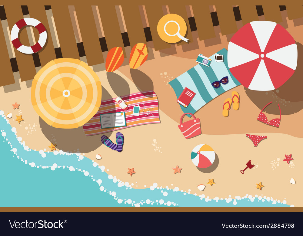 Summer beach in flat design sea side and beach vector | Price: 1 Credit (USD $1)