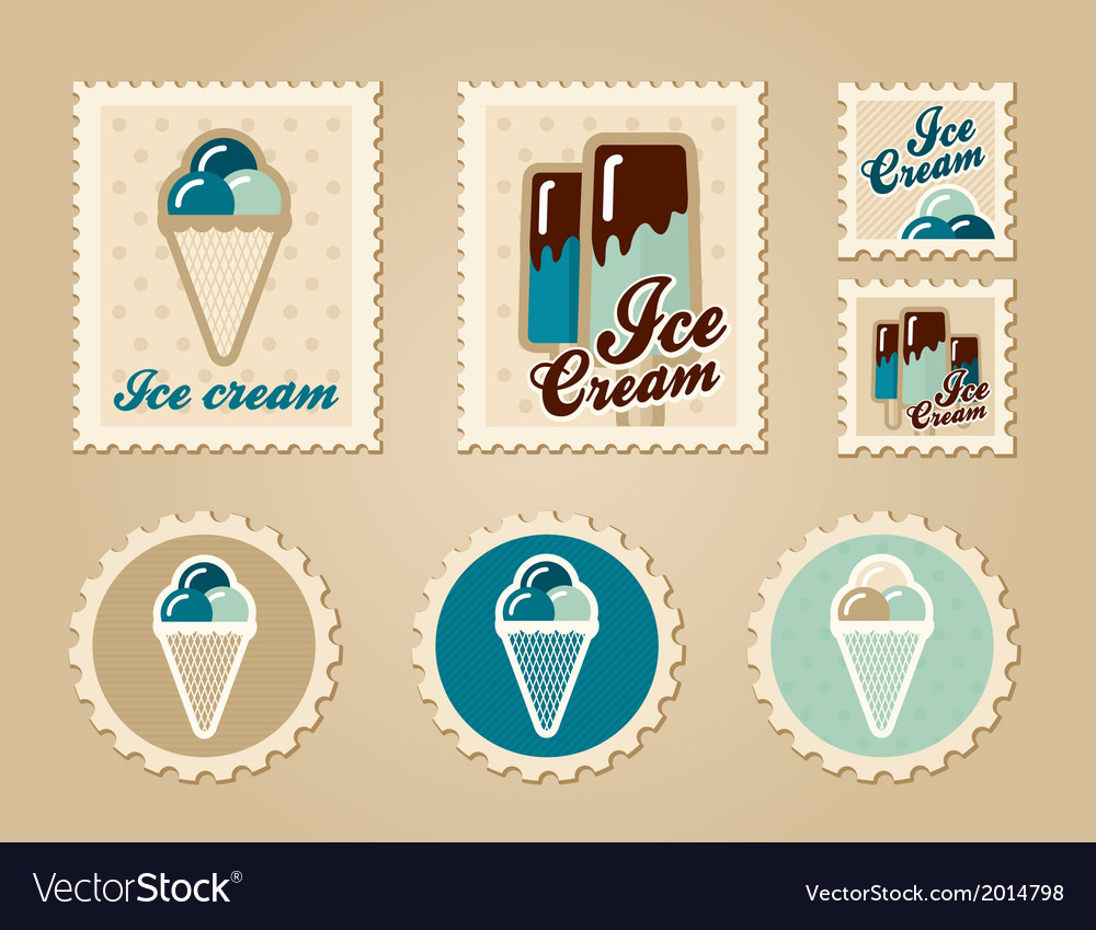 Summer stamps ice creame vector | Price: 1 Credit (USD $1)