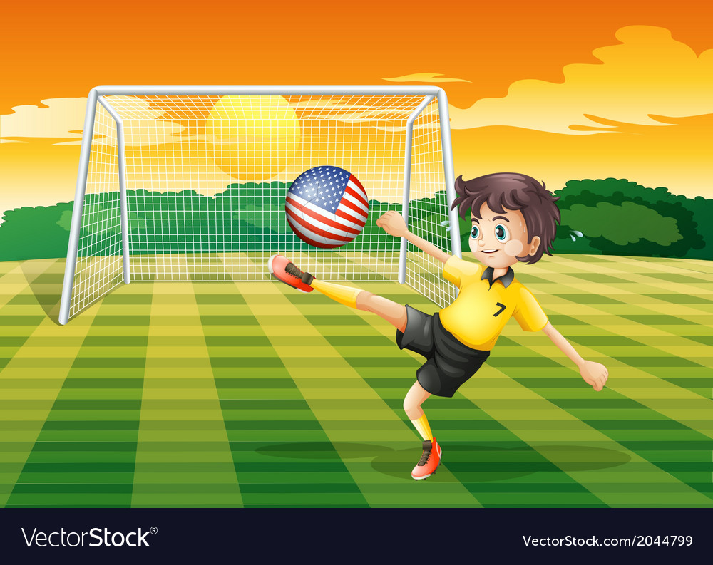 A lady player kicking the ball with the flag of vector   Price: 1 Credit (USD $1)