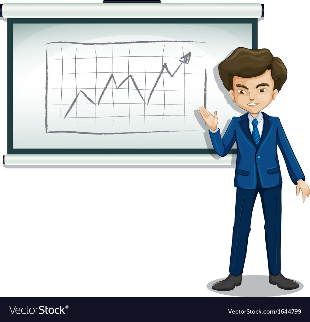 A man explaining the graph in the board vector | Price: 3 Credit (USD $3)