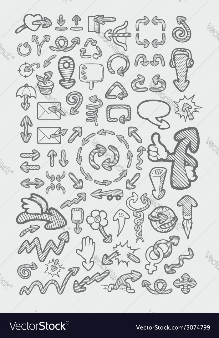 Arrow icons sketch vector