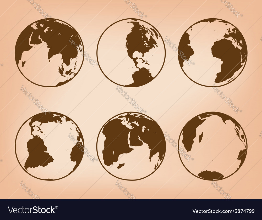 Brown globes with continents - set of earth vector | Price: 1 Credit (USD $1)