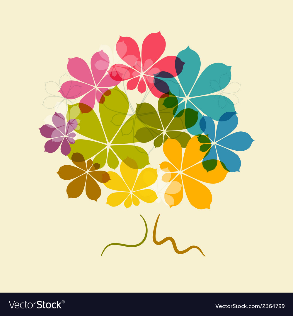 Chestnut abstract colorful tree on old paper vector | Price: 1 Credit (USD $1)
