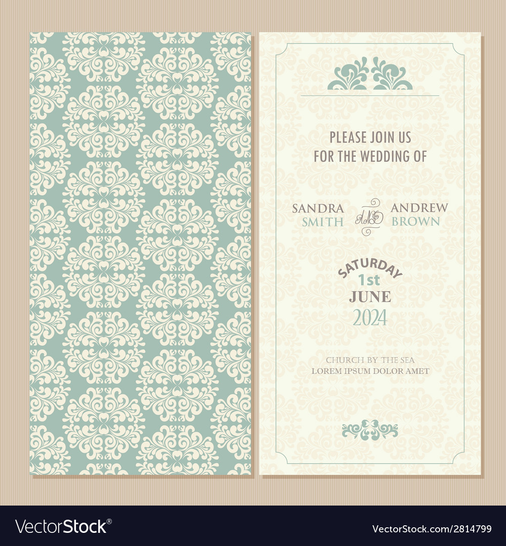 Green vintage wedding invitation vector | Price: 1 Credit (USD $1)