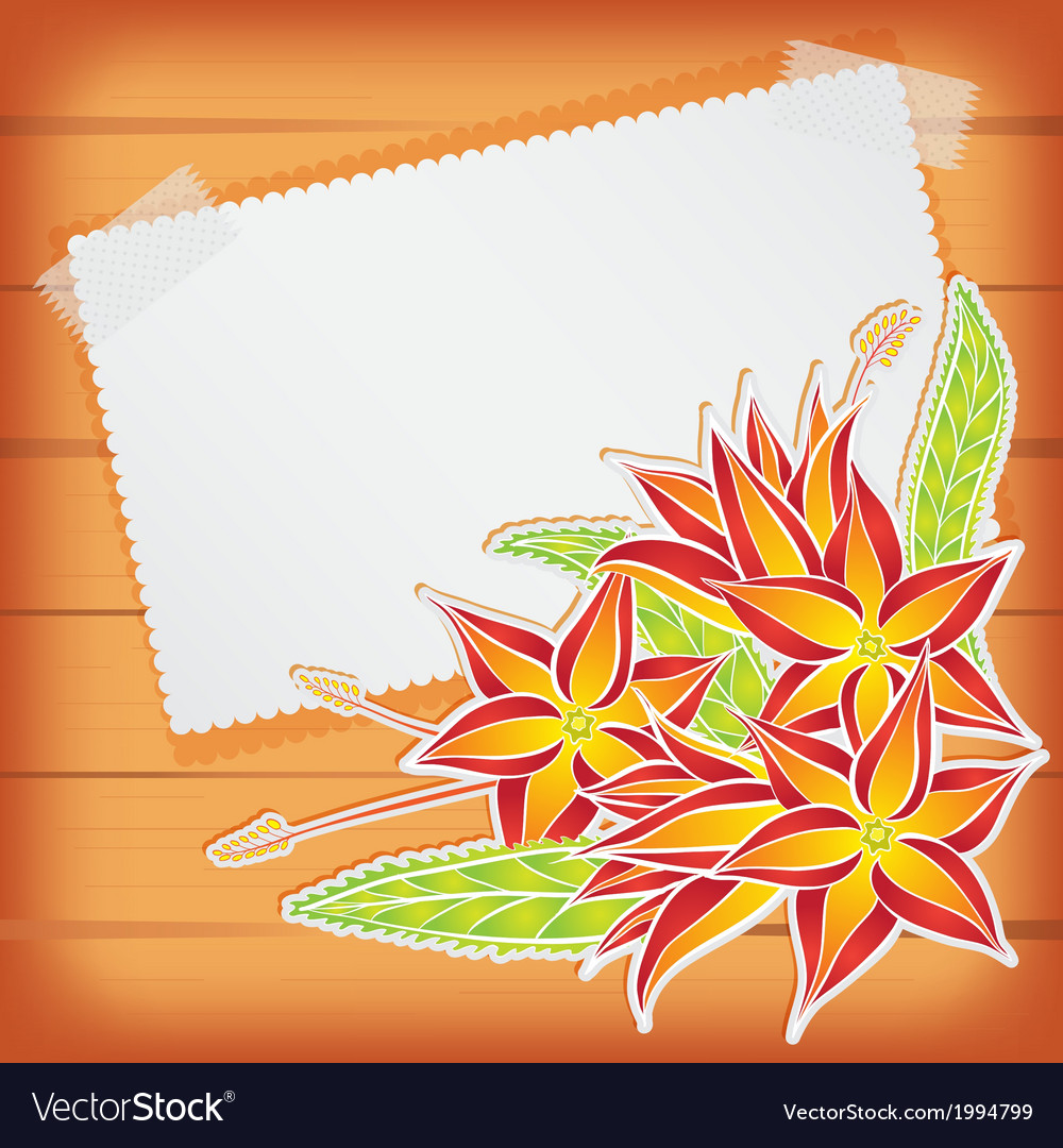 Greeting card with scotch tape and flowers vector | Price: 1 Credit (USD $1)
