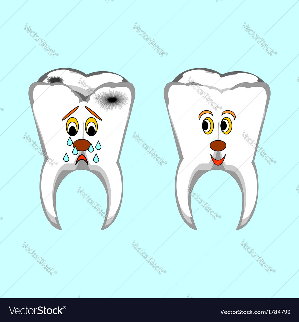 Happy healthy and sad sick teeth vector | Price: 1 Credit (USD $1)