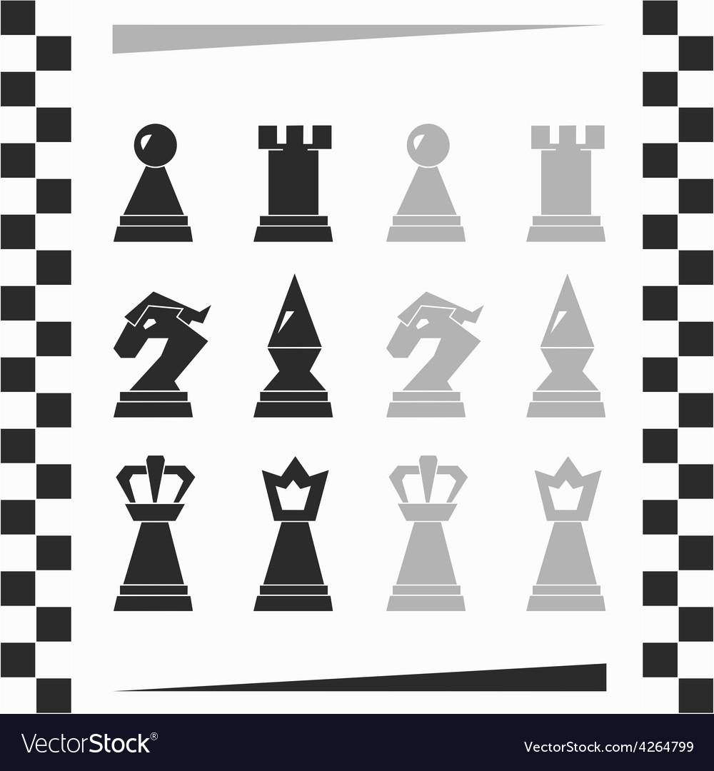Monochrome chessmen silhouette vector | Price: 1 Credit (USD $1)