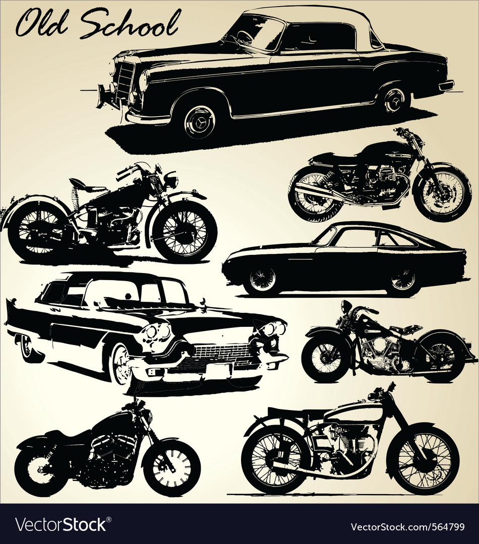 Old school cars and motorbikes vector
