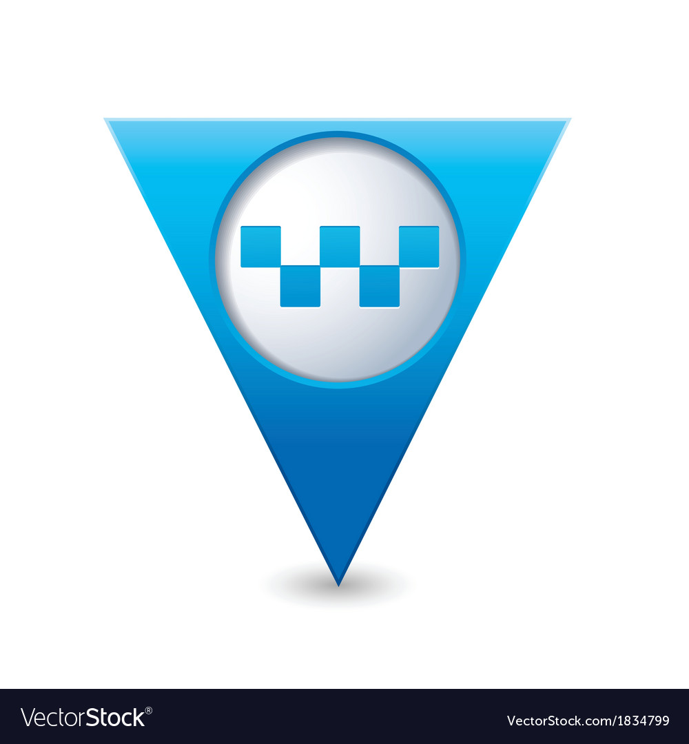 Taxi icon map pointer blue vector | Price: 1 Credit (USD $1)