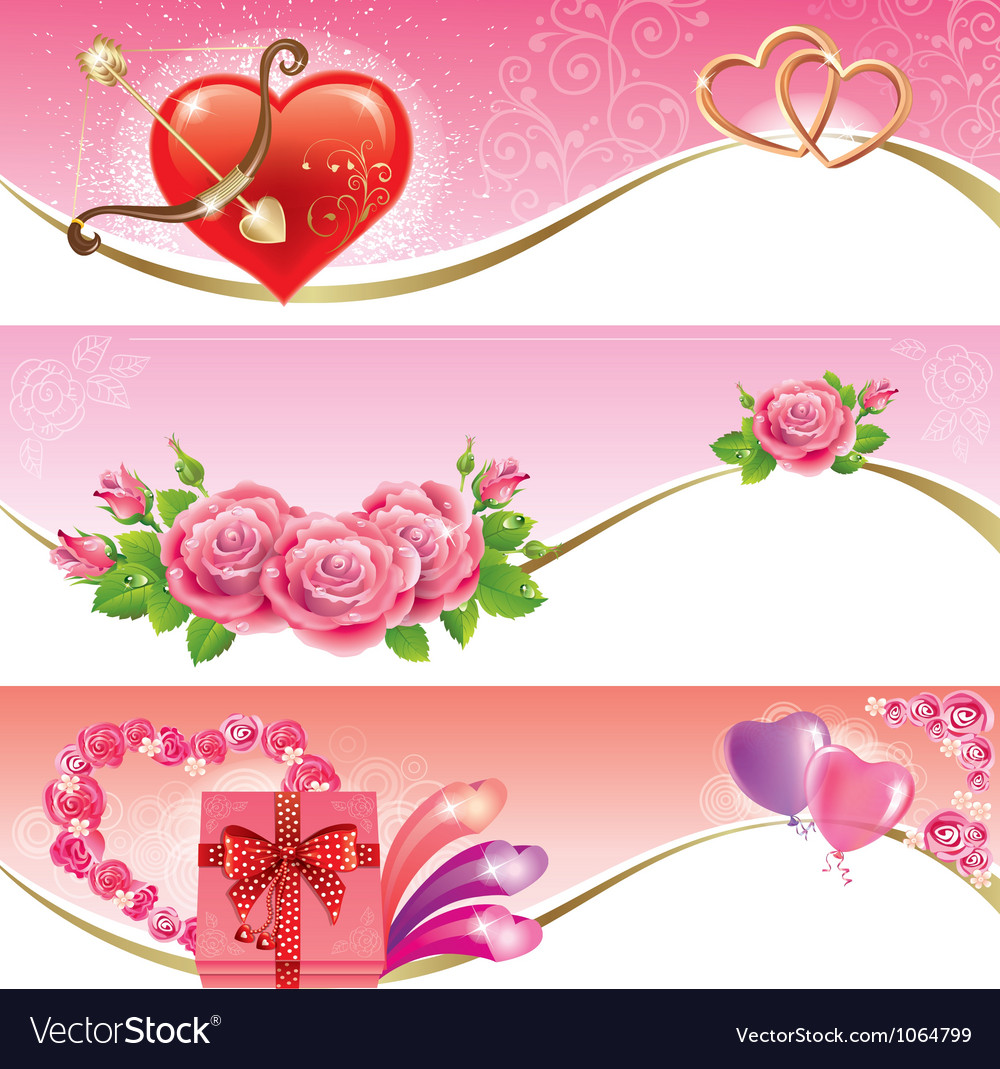 Valentines day banners vector | Price: 3 Credit (USD $3)