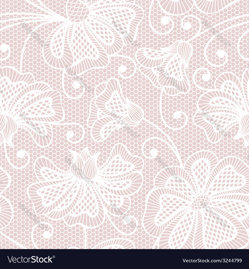 White seamless flower pattern on pink background vector | Price: 1 Credit (USD $1)