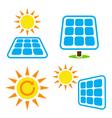 Solar panel - eco eergy icons set vector