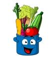 Healthy fresh vegetables in blue pot vector