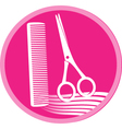 Symbol of hair salon with scissors and comb vector