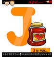 Letter j with jam cartoon vector