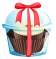 A cupcake inside a sealed container vector