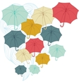 Background with collor umbrellas autumn vector