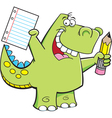 Cartoon student dinosaur vector