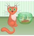 Cartoon red cat and aquarium with fishes vector