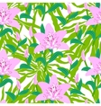 Floral pattern with tropical big pink lily flowers vector