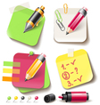 Note paper post with pencil vector