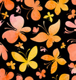 Seamless watercolor pattern of butterflies vector