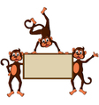 Monkey cartoon with blank board vector