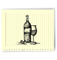 Sketch drawing of wine bottle and glass on lined vector