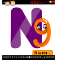 Letter n with nine cartoon vector
