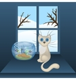 Cartoon white cat and aquarium with fishes vector